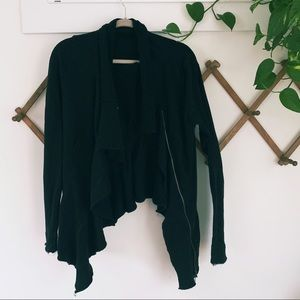We The Free People black ruffle zip sweatshirt L